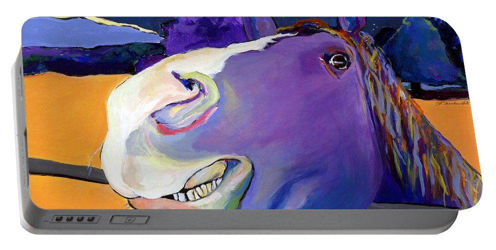 Barnyard Animal Portable Battery Charger featuring the painting Got Oats   by Pat Saunders-White