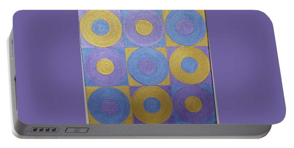 Bkue Portable Battery Charger featuring the painting Got The Brass Blues by Gay Dallek