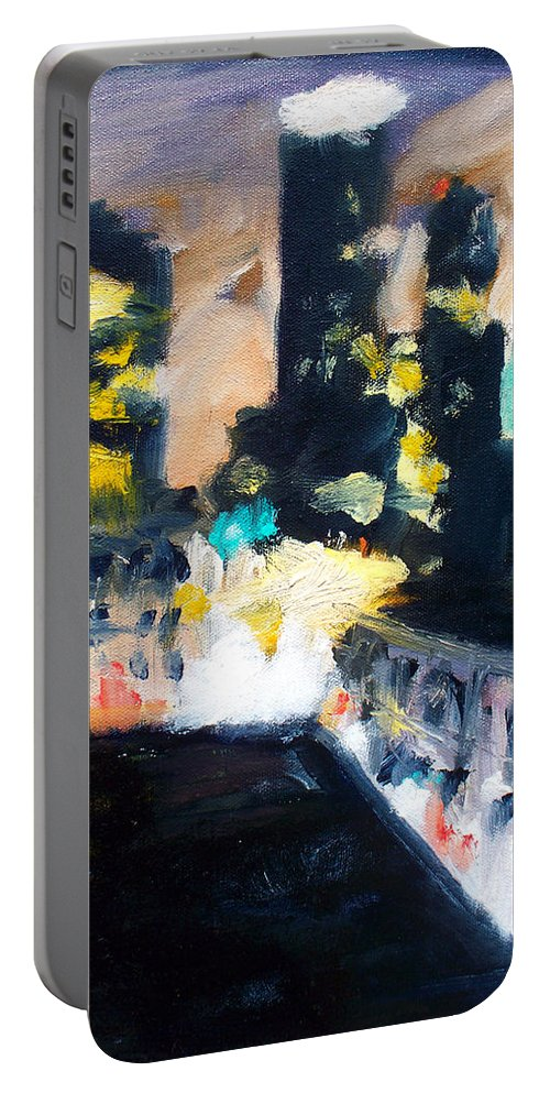 Des Moines Portable Battery Charger featuring the painting Gotham by Robert Reeves
