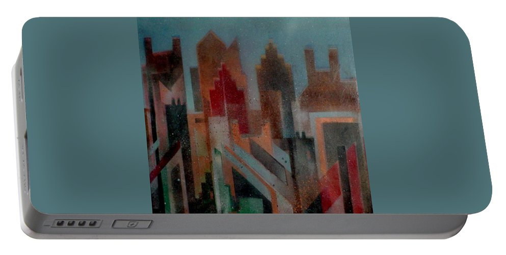Abstract Portable Battery Charger featuring the painting Gothem City by Anita Burgermeister