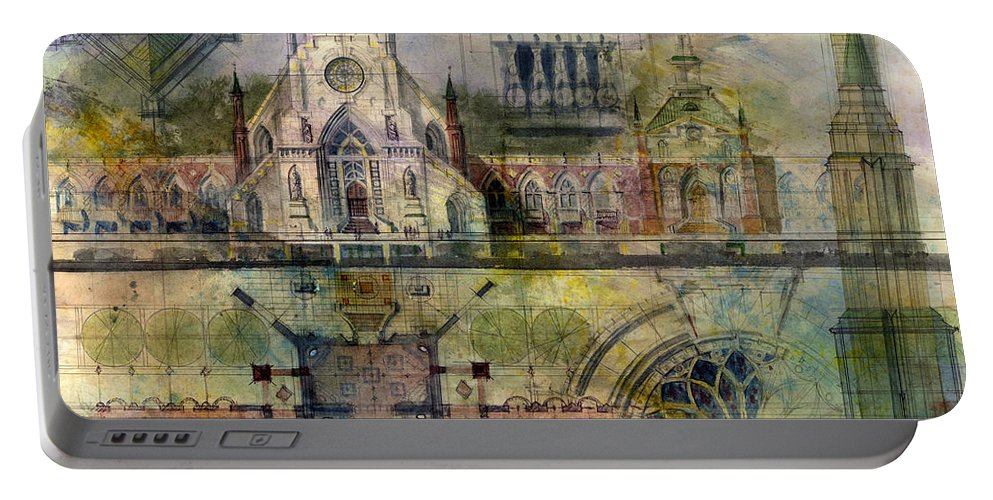 Gothic Portable Battery Charger featuring the painting Gothic by Andrew King