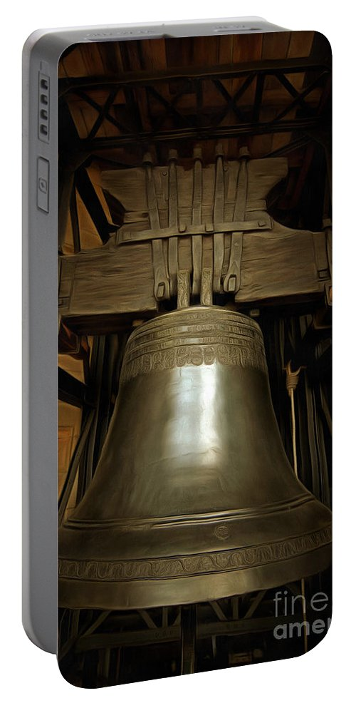 Czech Portable Battery Charger featuring the digital art Gothic Bell by Michal Boubin