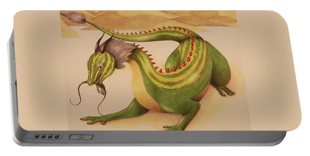 Dragon Portable Battery Charger featuring the drawing Gourd Dragon by Michelle Miron-Rebbe