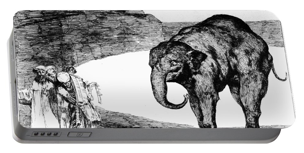 1820 Portable Battery Charger featuring the photograph Goya: Elephant, C1820 by Granger