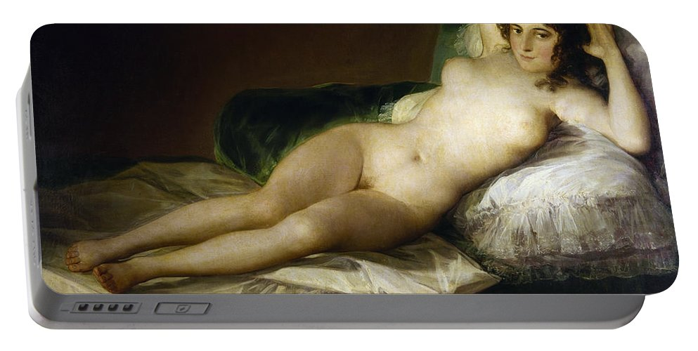 1797 Portable Battery Charger featuring the painting Goya: Nude Maja, C1797 by Granger