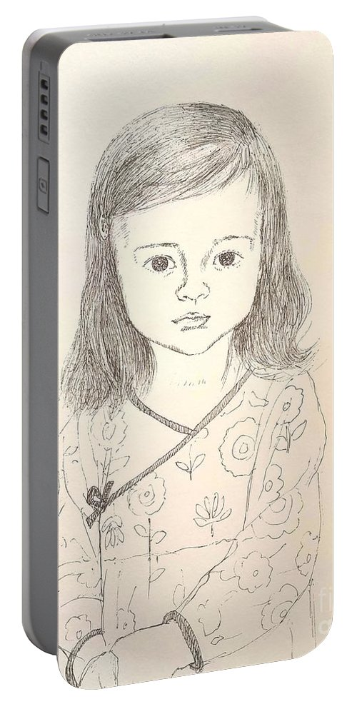 Kids Portable Battery Charger featuring the drawing Little Grace by Jane Powell