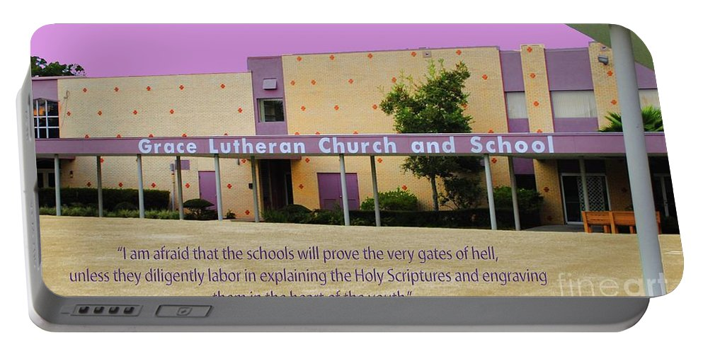 Grace Portable Battery Charger featuring the photograph Grace Lutheran School by Jost Houk