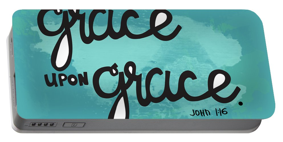 Scripture Portable Battery Charger featuring the mixed media Grace by Nancy Ingersoll