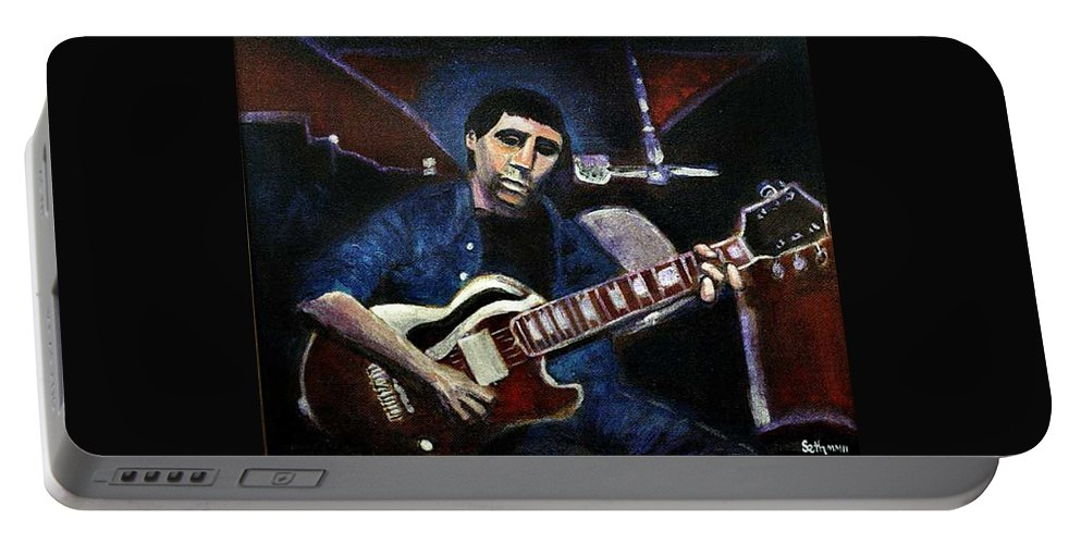 Shining Guitar Portable Battery Charger featuring the painting Graceland Tribute To Paul Simon by Seth Weaver