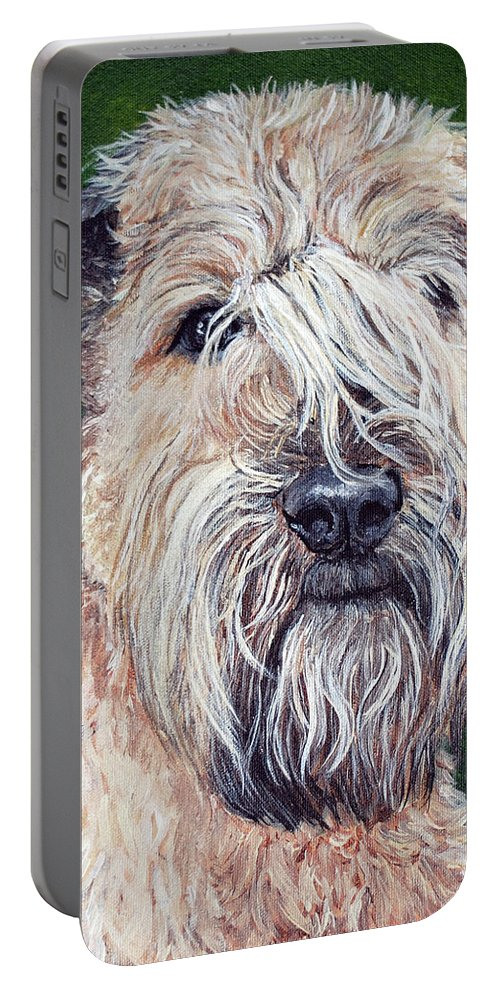 Dog Portable Battery Charger featuring the painting Gracie, Soft Coated Wheaten Terrier by Monika Brauer
