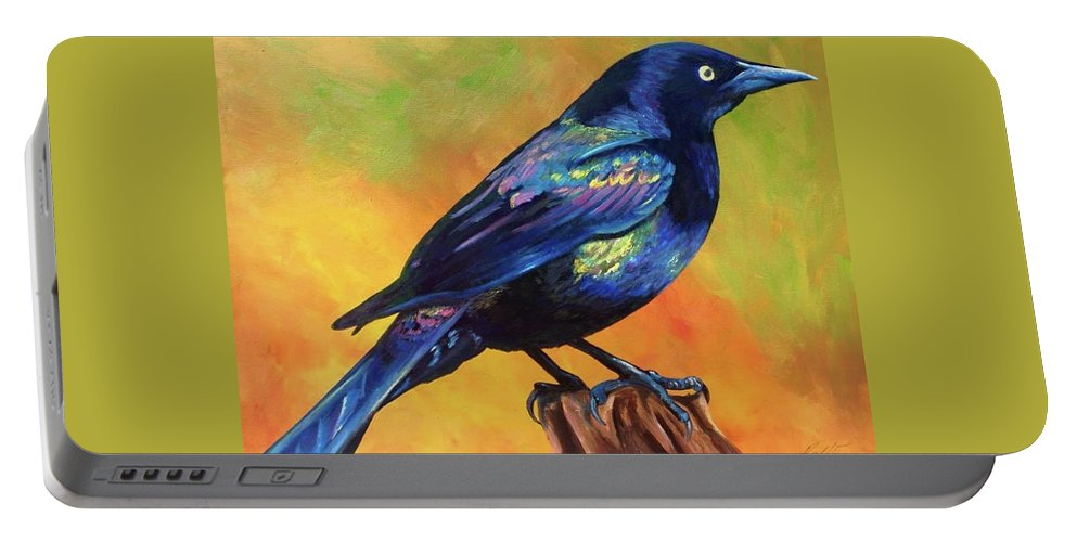 Grackle Portable Battery Charger featuring the painting Grackle by Rory Viale