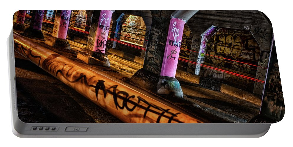 Krogg Street Underpass Portable Battery Charger featuring the photograph Graffiti Galore 1 by Doug Sturgess