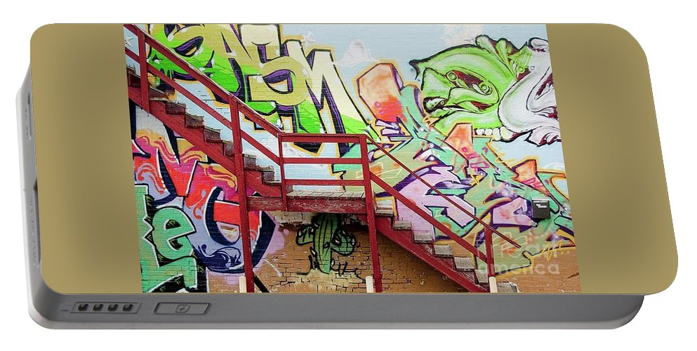 Graffiti Portable Battery Charger featuring the photograph Graffiti Steps by Kimberly Farmer