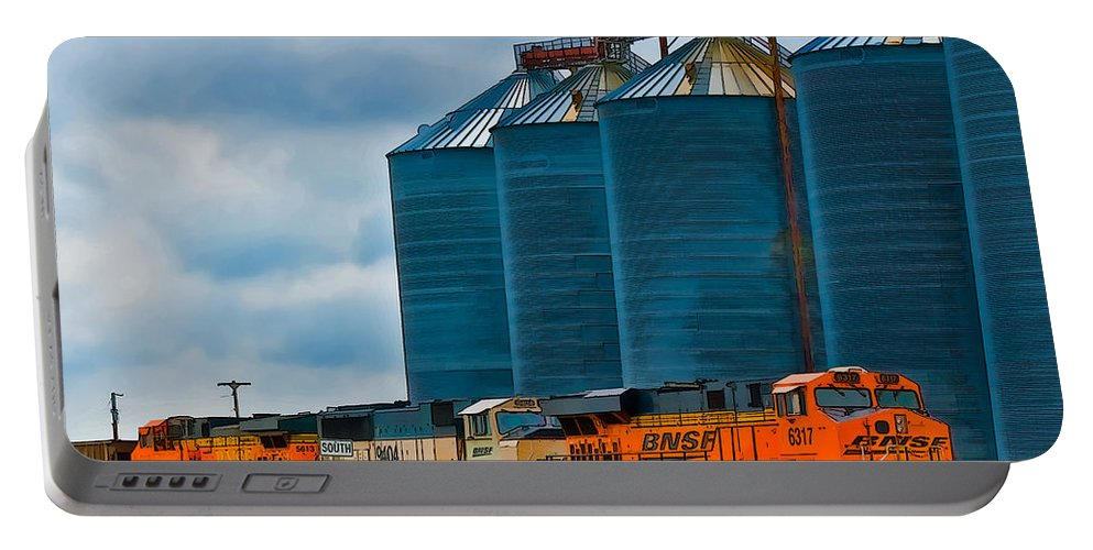 Silo Portable Battery Charger featuring the photograph Grain Silos And Bnsf Train by Ginger Wakem