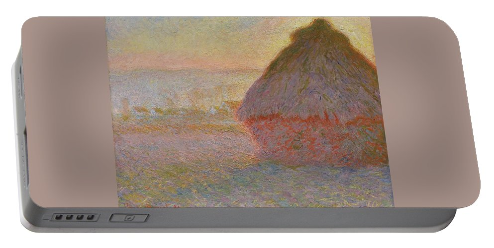 Claude Monet Portable Battery Charger featuring the painting Grainstack, Sunset by Claude Monet