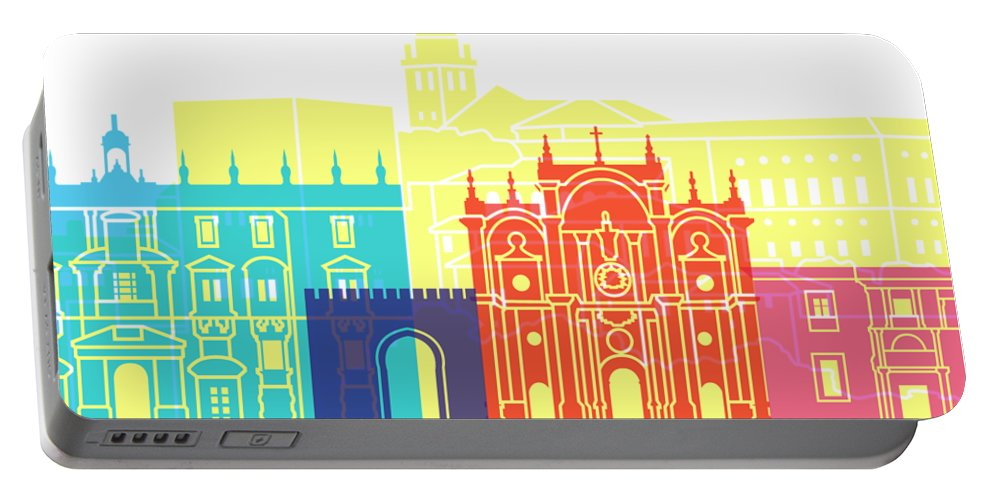 Granada Portable Battery Charger featuring the painting Granada Skyline Pop by Pablo Romero