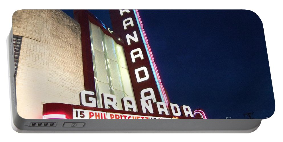 Music Portable Battery Charger featuring the photograph Granada Theater by Debbi Granruth