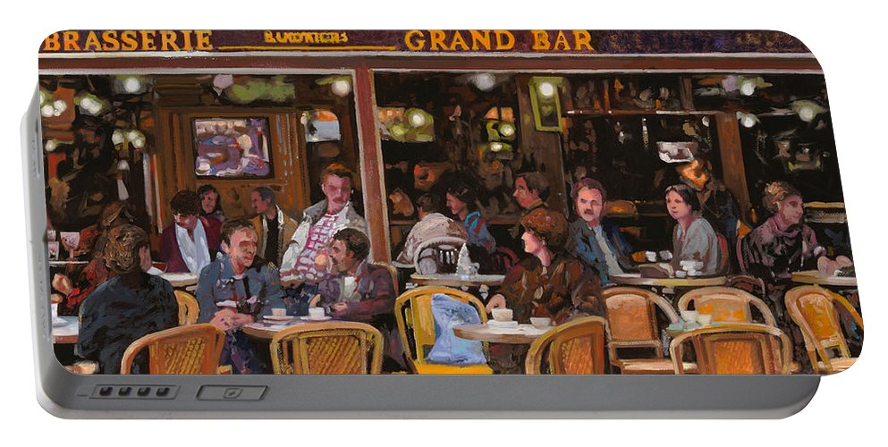 Brasserie Portable Battery Charger featuring the painting Grand Bar by Guido Borelli