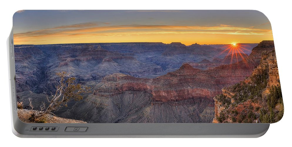 Grand Canyon National Park Portable Battery Charger featuring the photograph Shimmering Warmth In Panoramic by James Anderson