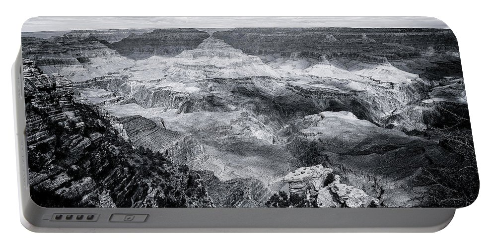 Grand Canyon Portable Battery Charger featuring the photograph Grand Canyon No. 2 - Bw by Belinda Greb
