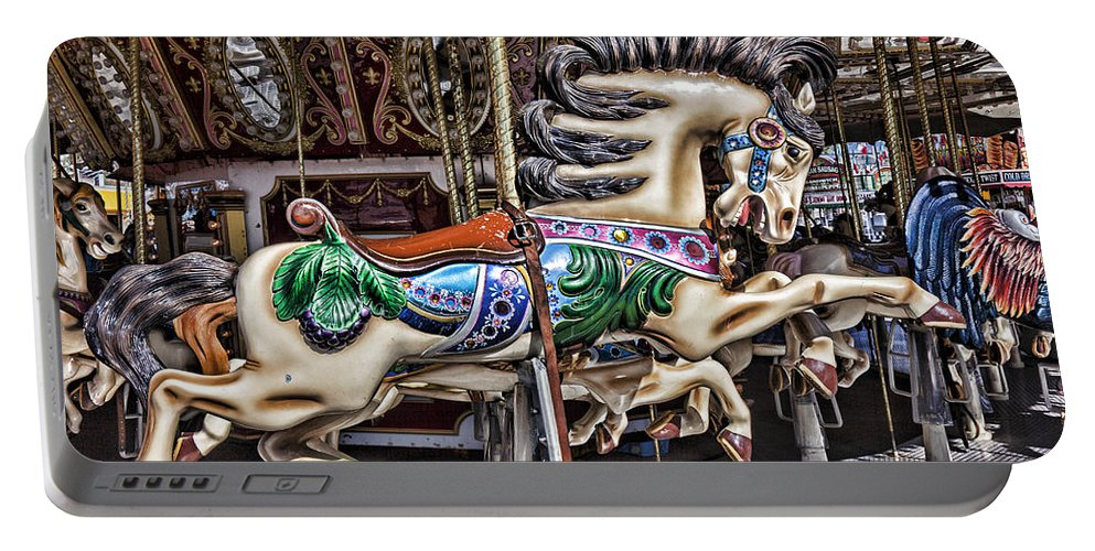 Wild Carrousel Horses Portable Battery Charger featuring the photograph Grand Carousel Hourse by Garry Gay