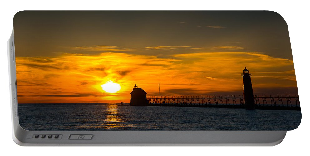 Grand Haven Portable Battery Charger featuring the photograph Grand Haven Sunset by Michael Tucker