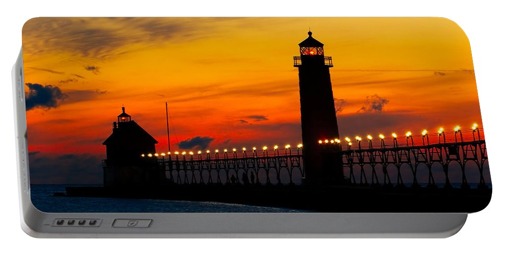 Architecture Portable Battery Charger featuring the photograph Grand Haven Sunset by Nick Zelinsky
