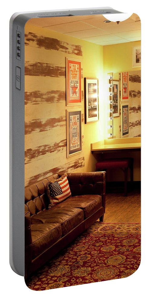 Grand Portable Battery Charger featuring the photograph Grand Ole Opry House Backstage Dressing Room #5 In Nashville, Tennessee. by Timothy Wildey