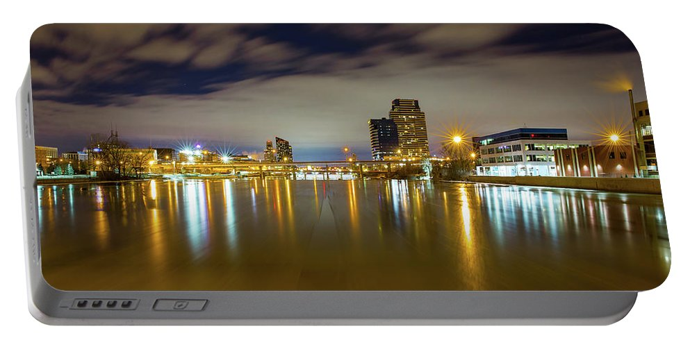Grand Rapids Michigan Portable Battery Charger featuring the photograph Grand Rapids At Night by J Thomas