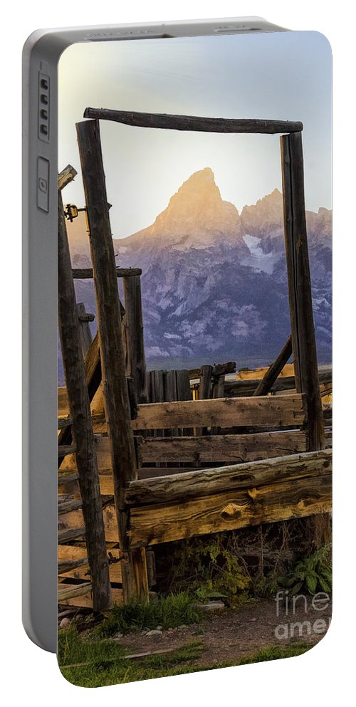 Grand Teton Framed Portable Battery Charger featuring the photograph Grand Teton Framed by Priscilla Burgers