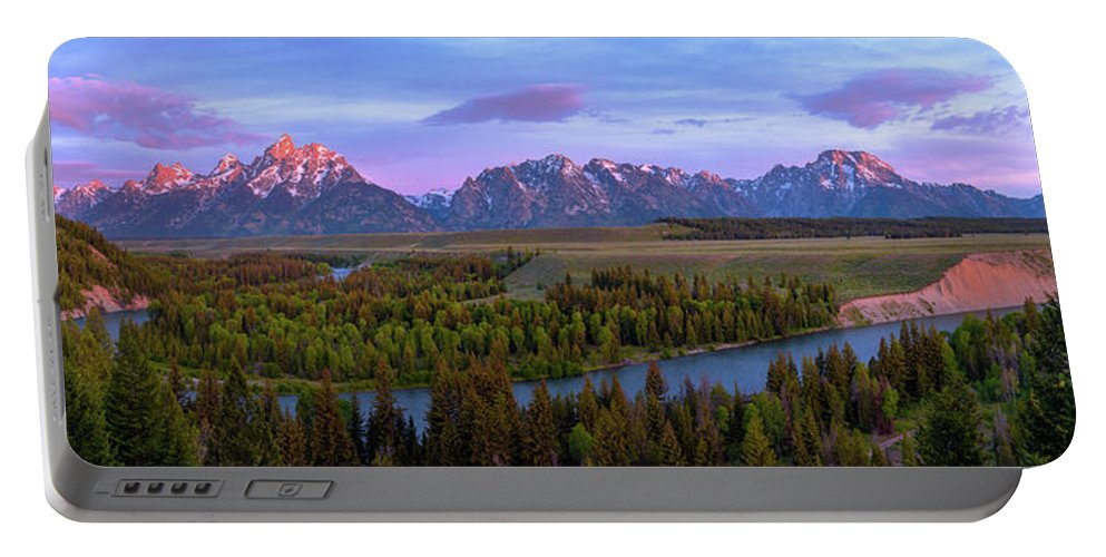 Grand Tetons Portable Battery Charger featuring the photograph Grand Tetons by Chad Dutson