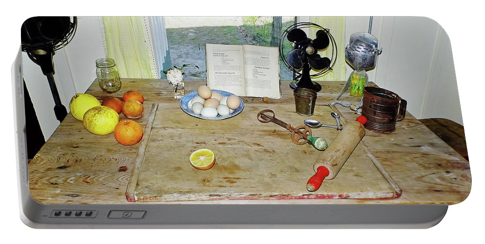 Kitchen Portable Battery Charger featuring the photograph Grandma's Baking Table by D Hackett