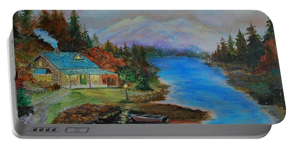 Cabin Painting Portable Battery Charger featuring the painting Grandmas Cabin by Leslie Allen