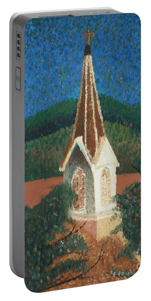 Grandma's Church Portable Battery Charger featuring the painting Grandmas Church by Jacqueline Athmann