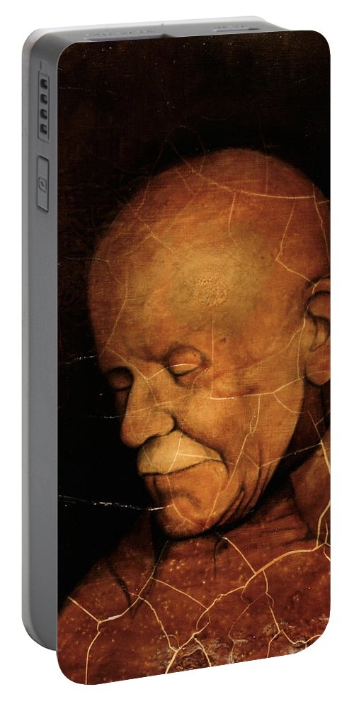 Portrait Portable Battery Charger featuring the painting Grandpa by Rachel Christine Nowicki
