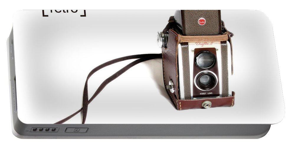 Retro Portable Battery Charger featuring the photograph Grandpa's Camera by Nancy Ingersoll