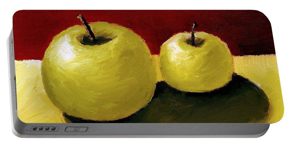 Apple Portable Battery Charger featuring the painting Granny Smith Apples by Michelle Calkins