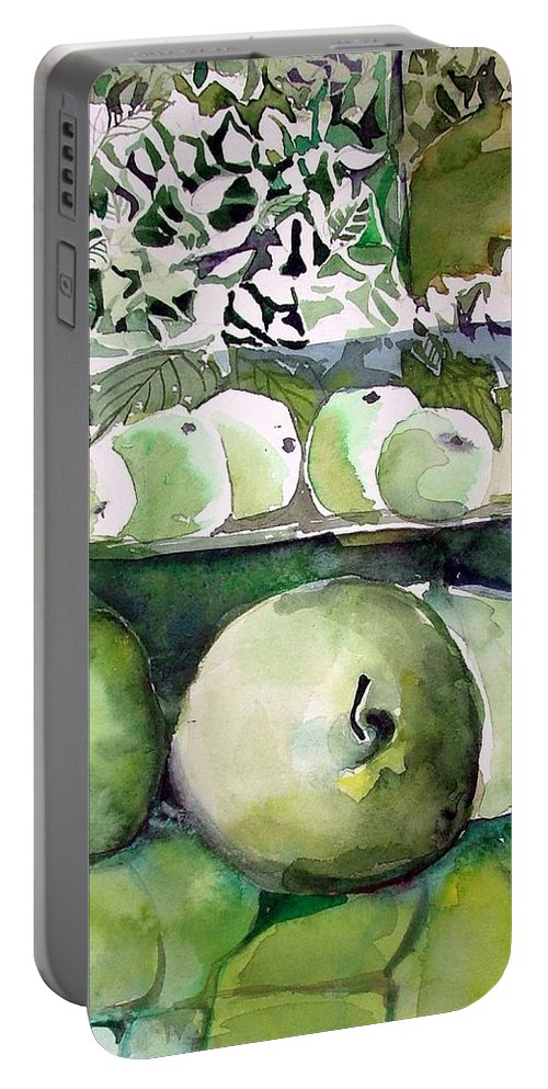 Apple Portable Battery Charger featuring the painting Granny Smith Apples by Mindy Newman