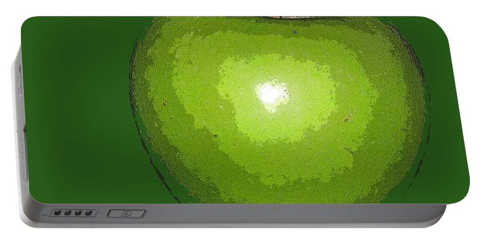 Apple Portable Battery Charger featuring the digital art Granny Smith by Ian MacDonald