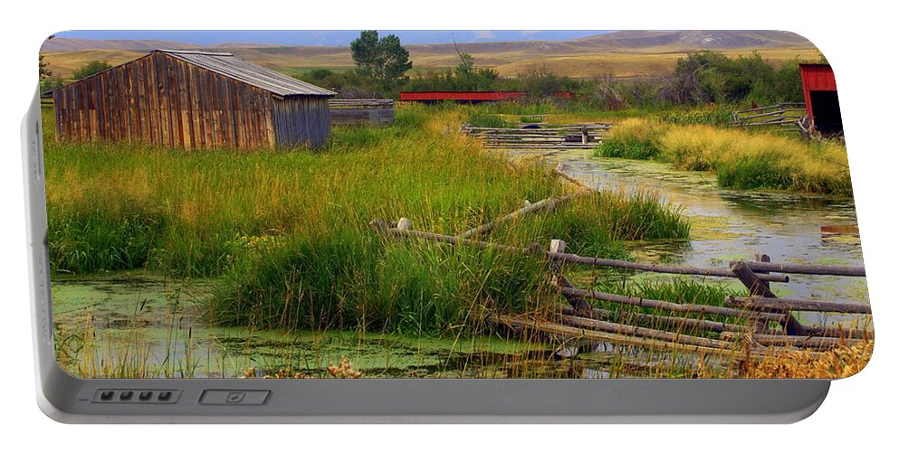 Ranch Portable Battery Charger featuring the photograph Grant Khors Ranch Deer Lodge Mt by Marty Koch