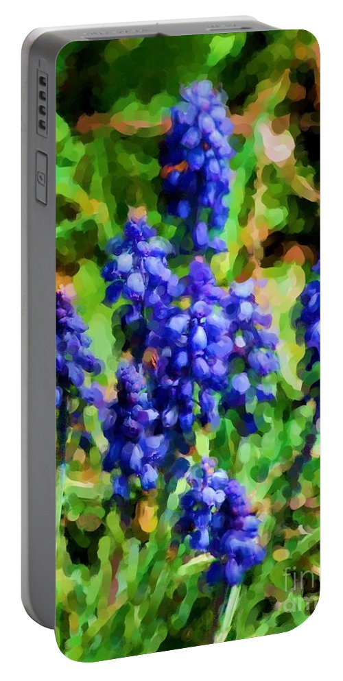 Grape Hyacinths Portable Battery Charger featuring the photograph Grape Hyacinths by David Lane