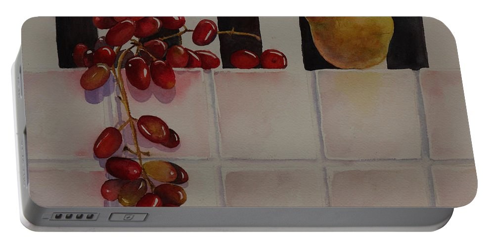 Fruit Portable Battery Charger featuring the painting Grapes And Pear by Ruth Kamenev