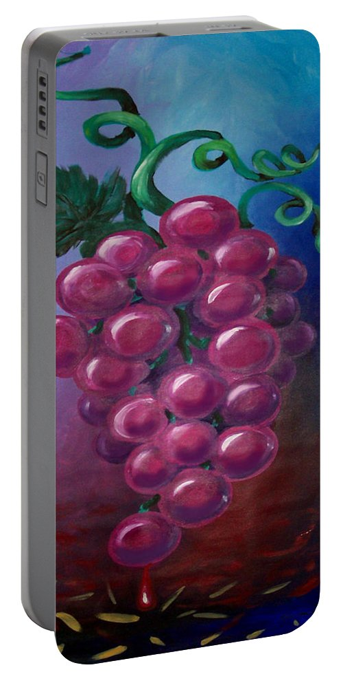 Grape Portable Battery Charger featuring the painting Grapes by Kevin Middleton