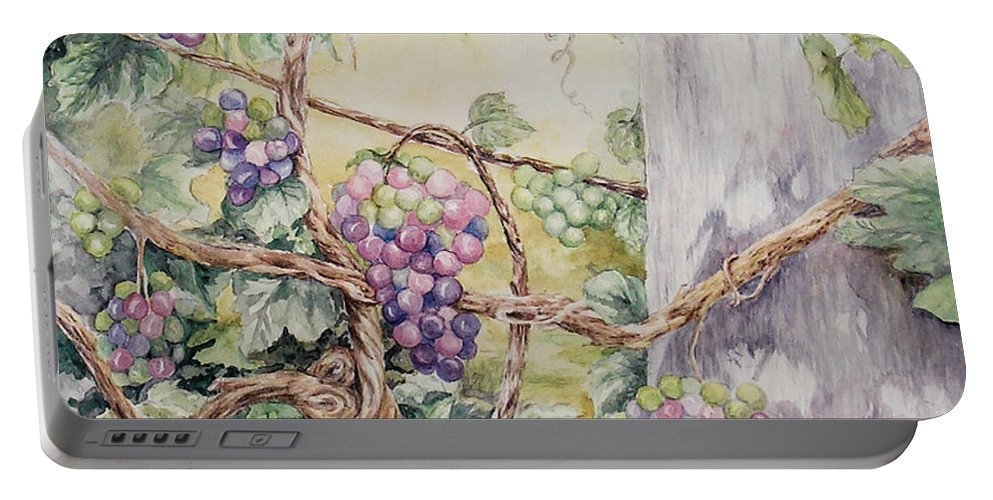 Vines Portable Battery Charger featuring the painting Grapevine Laurel Lakevineyard by Valerie Meotti