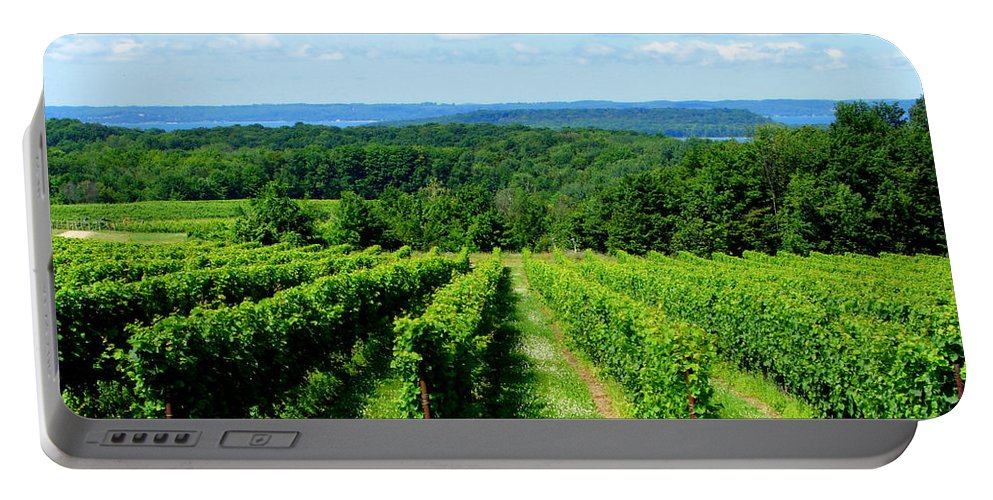 Scenic Portable Battery Charger featuring the photograph Grapevines On Old Mission Peninsula - Traverse City Michigan by Michelle Calkins
