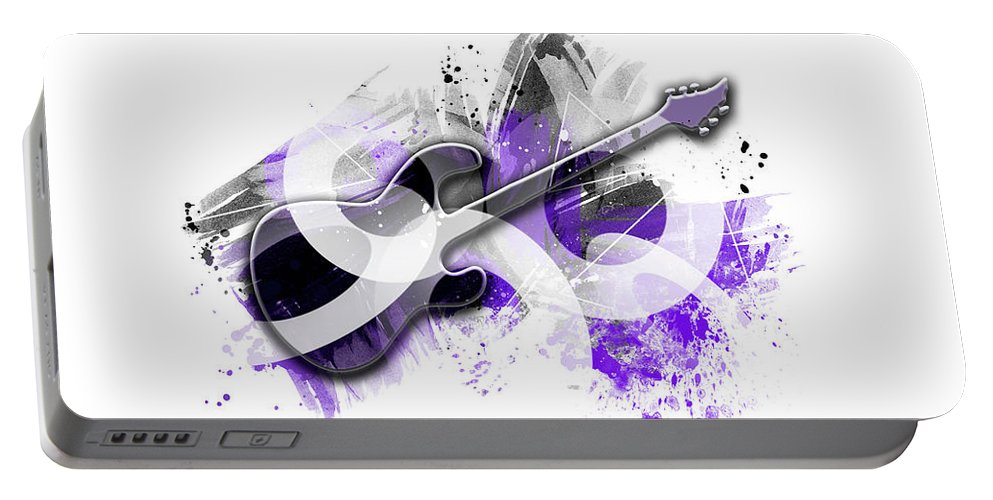 Abstract Portable Battery Charger featuring the digital art Graphic Art Guitar - Purple by Melanie Viola