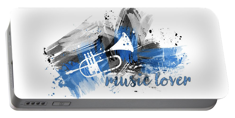 Abstract Portable Battery Charger featuring the digital art Graphic Art Music Lover - Blue by Melanie Viola