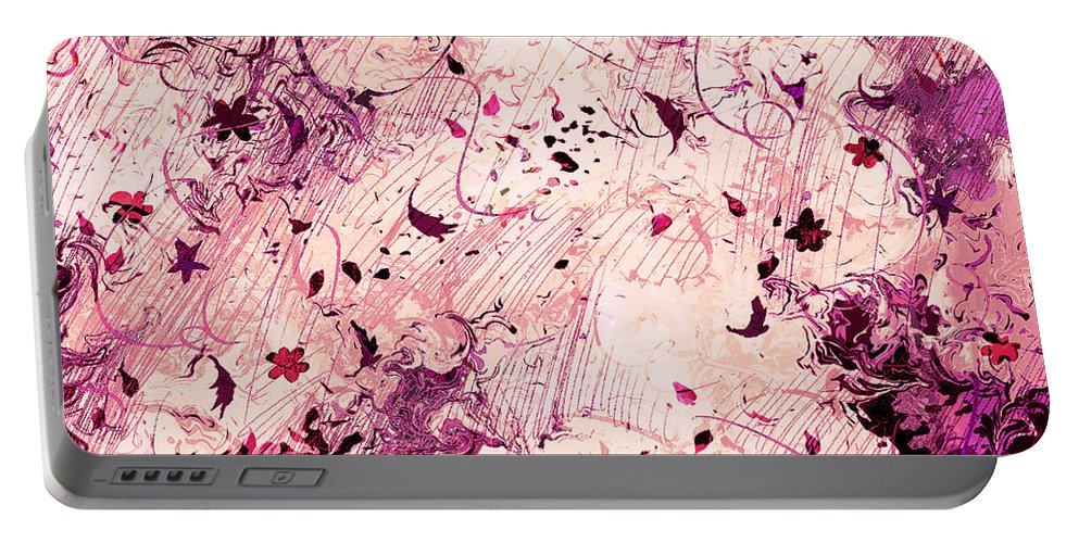 Abstract Portable Battery Charger featuring the digital art Grasping For Stars by Rachel Christine Nowicki
