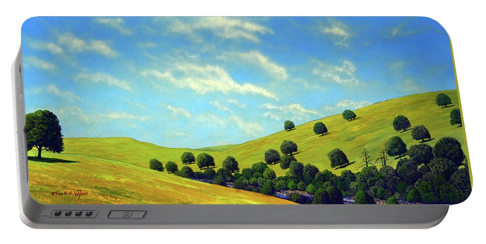 Wilderness Portable Battery Charger featuring the painting Grassy Hills At Meadow Creek by Frank Wilson