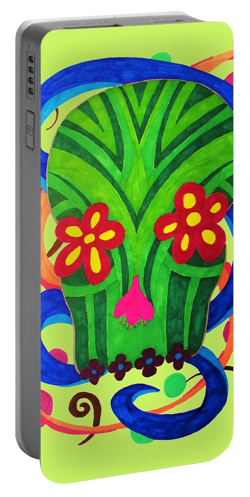 Dia De Los Muertos Portable Battery Charger featuring the drawing Grassy Skull Transparent by Wendy Rickwalt